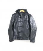 TORNADO MART(トルネードマート)の古着「カウレザーフーデッドジャケット」|ブラック
