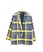 Unaca(アナカ)の古着「オーバーサイズチェックジャケット」|ネイビー×イエロー