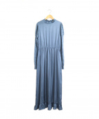 TELA(テラ)の古着「ニット切替ブラウスワンピース」|ブルー