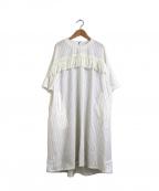Ujoh(ウジョー)の古着「フリンジ装飾ストライプワンピース」|ホワイト