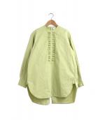 ()の古着「PIN TUCK SHIRT / ピンタックシャツ」 ライトグリーン