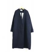 ENFOLD(エンフォルド)の古着「ソフトリバーノーカラーコート」|ネイビー