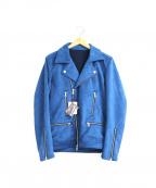 NO ID.(ノーアイディー)の古着「フェイクスウェードダブルライダースジャケット」|ブルー