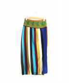 Jean Paul Gaultier FEMME(ジャンポールゴルチェ フェム)の古着「[OLD]マルチストライプスリットニットスカート」|マルチカラー