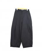 porter des boutons(ポルテデブトン)の古着「スーピマコットンツイルワイドパンツ」|ブラック