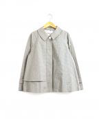 porter des boutons(ポルテデブトン)の古着「ガンクラブチェックトレンチショートコート / ジャケット」|ベージュ