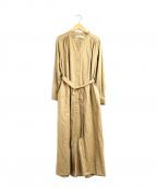 porter des boutons(ポルテデブトン)の古着「シャツオールインワン」|ベージュ