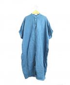 YARRA(ヤラ)の古着「スモッキングギャザーリネンワンピース」 ブルー