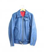 NO ID.(ノーアイディー)の古着「セミアニリンシングルライダースジャケット」|ライトニングブルー