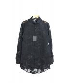 kiryuyrik(キリュウキリュウ)の古着「オパールサテンクルミボタンシャツ」|ブラック