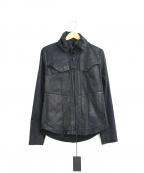 kiryuyrik(キリュウキリュウ)の古着「コーティングスウェードハイカラーブルゾン」|ブラック