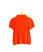 PLEATS PLEASE(プリーツプリーズ)の古着「ボトルネックプリーツカットソー」 オレンジ