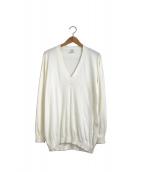 HERMES(エルメス)の古着「[OLD]ハイゲージコットンディープVネックニット」|ホワイト