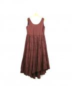 CASA FLINE(カーサフライン)の古着「linen イレヘムドレスワンピース」|ブラウン