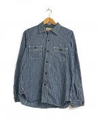 freewheelers(フリーホイーラーズ)の古着「ヒッコリーワークシャツ」 ブルー