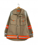 HERON PRESTON(ヘロンプレストン)の古着「コットンキャンバスファイヤーマンジャケット」|グレー×ベージュ