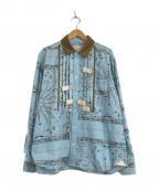 sacai(サカイ)の古着「バンダナプリントコーデュロイドレスシャツ」|ブルー