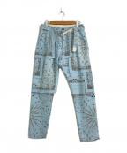 sacai(サカイ)の古着「バンダナプリントコーデュロイパンツ」|ブルー
