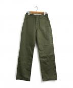 MOMOTARO JEANS(桃太郎ジーンズ)の古着「シンチバックツイルコットンチノパンツ」 オリーブ