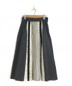 porter des boutons(ポルテデブトン)の古着「レース切替ロングスカート」|ブラック