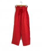 porter des boutons(ポルテデブトン)の古着「ハイウエストリネンタックパンツ」|レッド