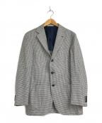DEPETRILLO(デペトリロ)の古着「ハウンドトゥースリネン混3ボタンジャケット」|ネイビー×ホワイト
