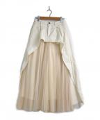 Belle vintage(ベル ビンテージ)の古着「デニム×チュールシフォンワイドパンツ」 ホワイト