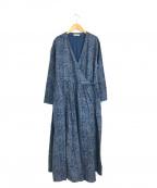 YARRA(ヤラ)の古着「プリントピンタック前開きワンピース」 ブルー×グレー