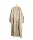 YARRA(ヤラ)の古着「リネンブレンドギャザーシャツワンピース」 ブラウン
