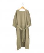 YARRA(ヤラ)の古着「リネンウールライン切替ワンピース」 ブラウン