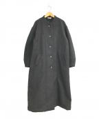 YARRA(ヤラ)の古着「ヘリンボーンツイードノーカラーロングコート」 ブラウン