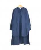 YARRA(ヤラ)の古着「琴平炊き綿リネンチュニックシャツワンピース」 ブルー