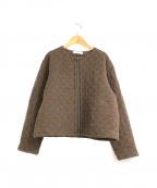 YARRA(ヤラ)の古着「キルティングノーカラージャケット」 ブラウン