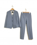 icB(アイシービー)の古着「リネン混ノーカラーセットアップパンツスーツ」|ライトブルー