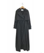 ()の古着「ギャザードロングトレンチコート」 ブラック