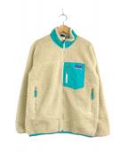 ()の古着「レトロXフリースジャケット」 ナチュラル×ターコイズ