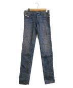 DIESEL(ディーゼル)の古着「ダメージ&ペイント加工スキニーデニムパンツ」 インディゴ