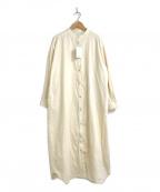 FRAMeWORK(フレームワーク)の古着「ノーカラーコーデュロイシャツワンピース」 ホワイト