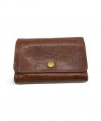 IL BISONTE(イルビゾンテ)の古着「型押し2つ折り財布 / コンパクトウォレット」|ブラウン