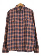 ()の古着「リネンブレンドチェックワークシャツ」|オレンジ×ネイビー
