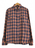 RRL(ダブルアールエル)の古着「リネンブレンドチェックワークシャツ」|オレンジ×ネイビー
