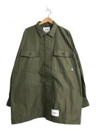 WTAPS (ダブルタップス) バックサテンユーティリティシャツ オリーブ サイズ:3 未使用品