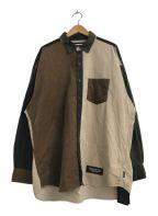NEIGHBORHOOD()の古着「クレイジーパターンコーデュロイシャツ」|ブラウン×カーキ