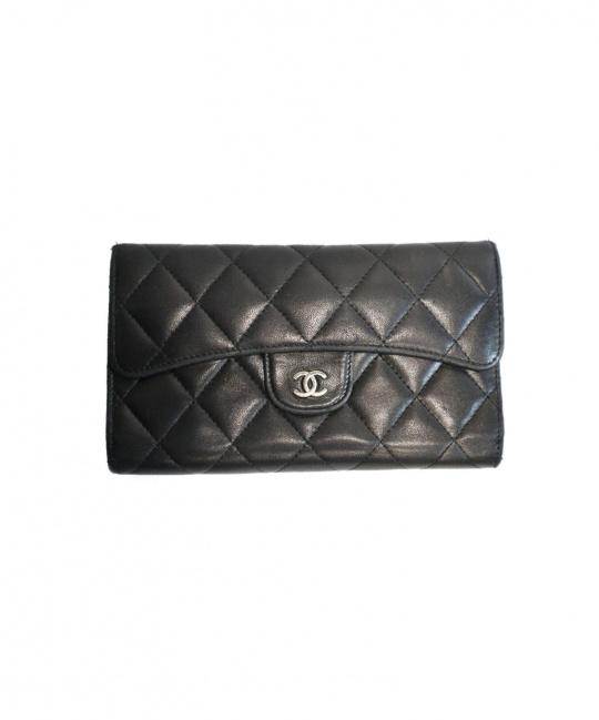 CHANEL CHANEL (シャネル) 3つ折り財布 ブラック