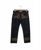 JUNYA WATANABE COMME des GARCONS(ジュンヤワタナベ コムデギャルソン)の古着「フラワー刺繍デニムパンツ」|インディゴ