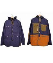 JUNYA WATANABE CdG MAN PINK(ジュンヤワタナベ コムデギャルソン マン ピンク)の古着「綿ウェザーパラフィンパーカーシャツジャケット」 ベージュ×パープル