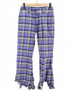 FACETASM(ファセッタズム)の古着「OMBRE CHECK CUT OFF PANTS」|ブルー×グレー