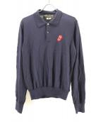COMME des GARCONS HOMME PLUS(コムデギャルソンオムプリュス)の古着「ニットポロシャツ」|ネイビー