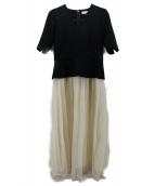 CELFORD(セルフォード)の古着「ペプラムドッキングワンピース」|ブラック×ホワイト