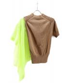 sacai(サカイ)の古着「アシンメトリー半袖ニット」|ベージュ